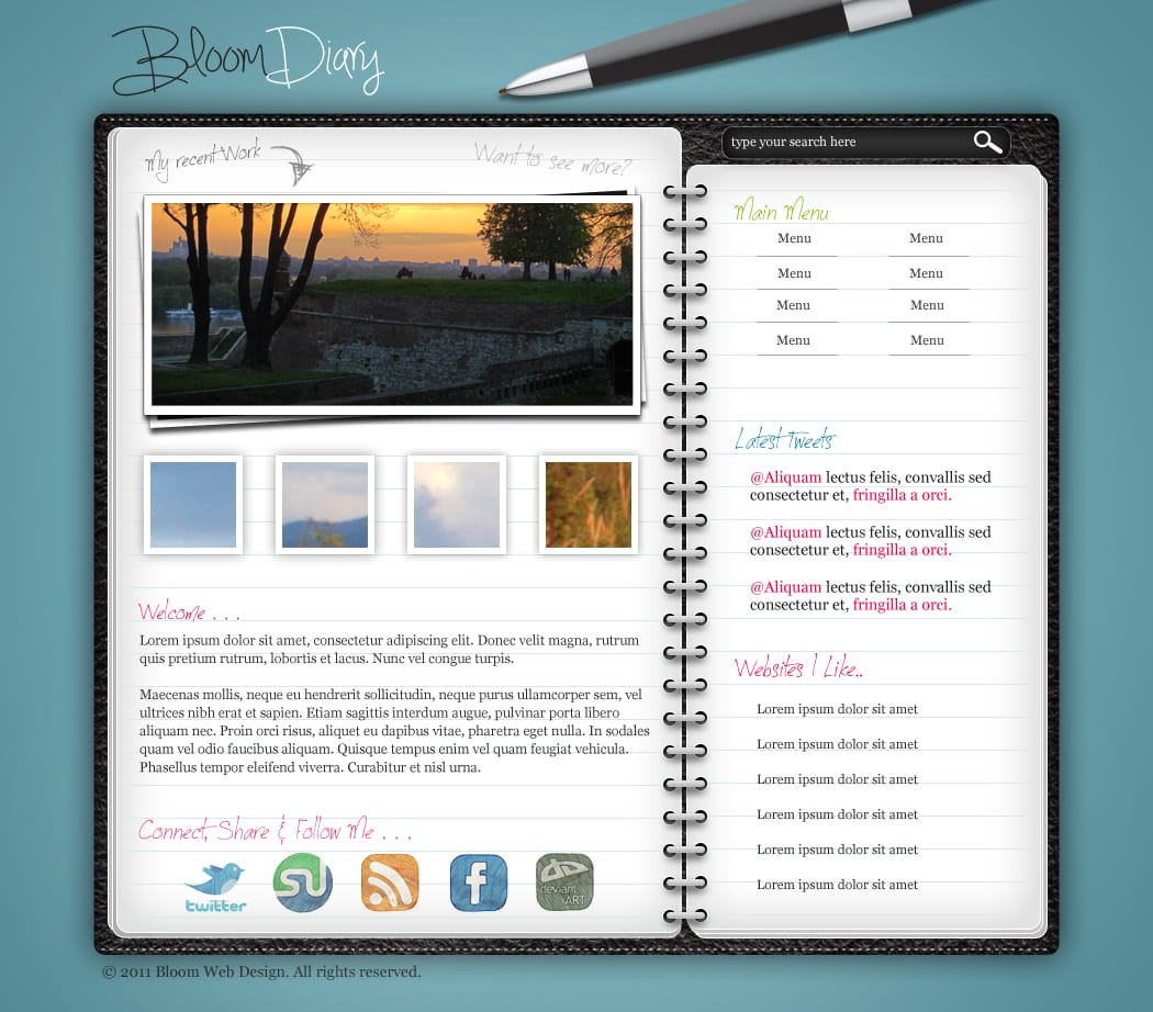 Design A Diary/Journal Web Layout In Photoshop -DesignBump