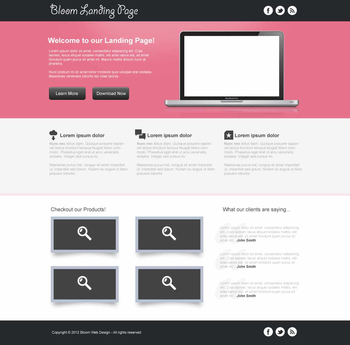 Design a Clean Landing Page Template in Photoshop (Free PSD