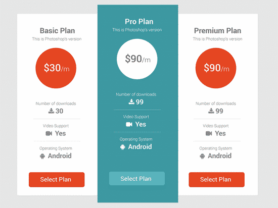 Pricing Table UI Element PSD Templates