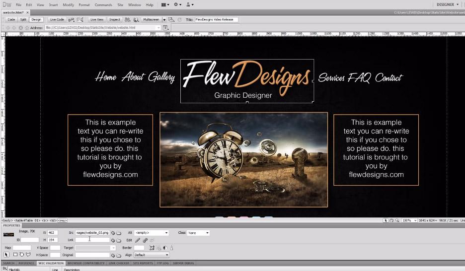 create a static website psd to dreamweaver tutorial