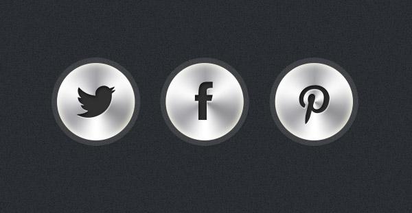 Free PSD: Metallic Social Icons