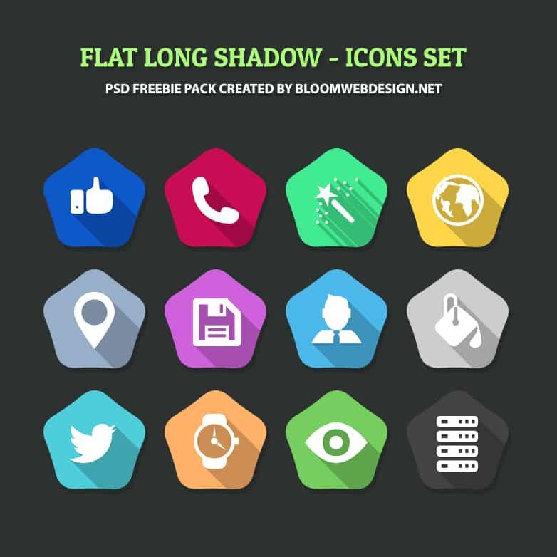 Free PSD: Hexagon Flat Long Shadow Icons