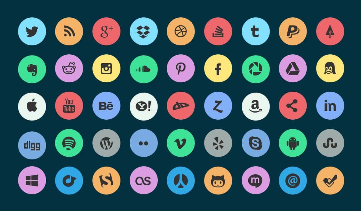 45 Free Flat Circle Social Icons Set PSD