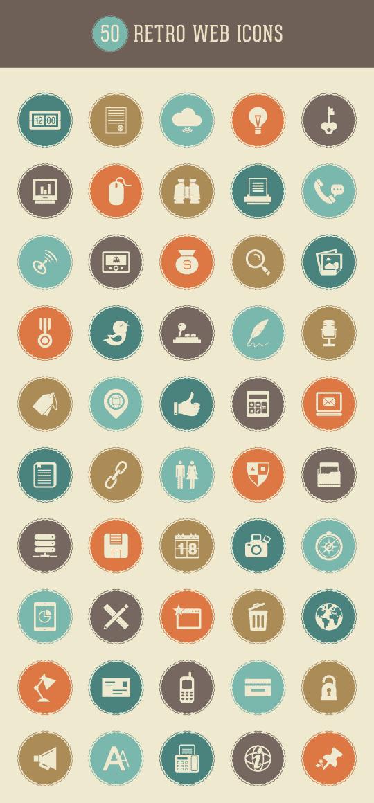 retro-web-icon-set