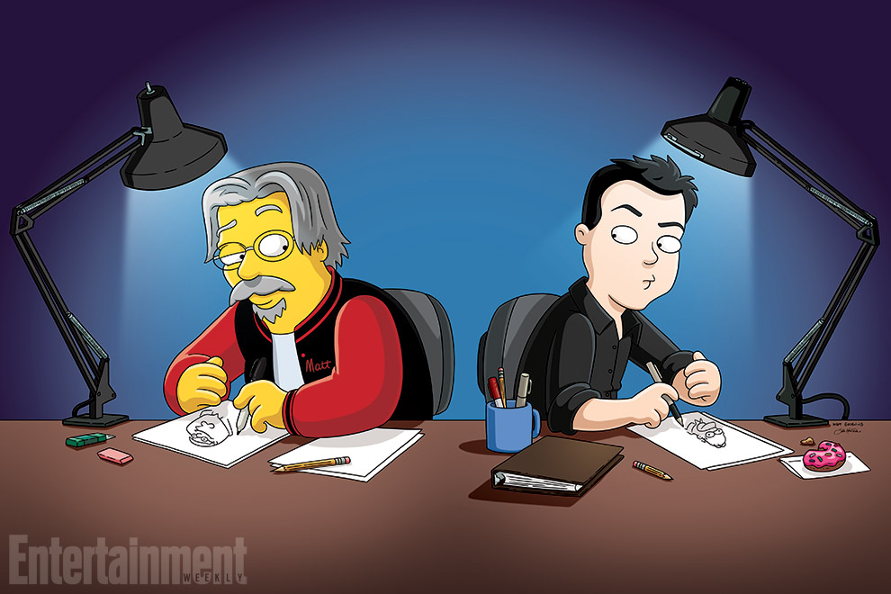 The Simpsons and Family Creators Draw each other