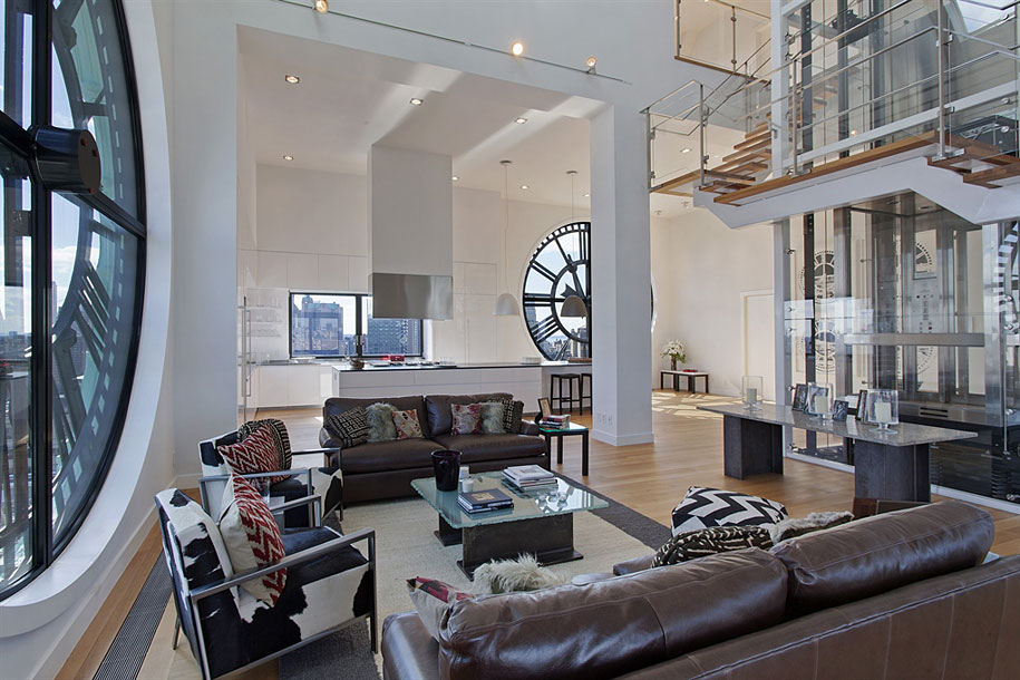 Brooklyn's Old Clock Tower Transformed Into Modern Penthouse