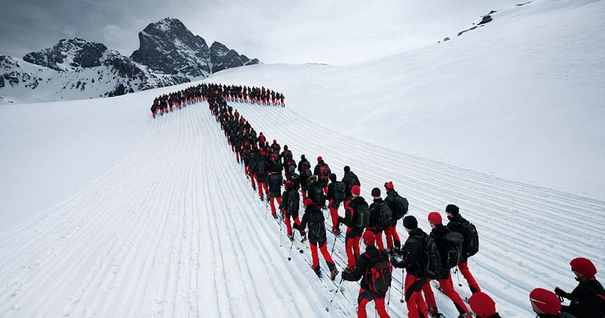 Hundreds Of Mountaineers Scale The Alps For Epic Photoshoot