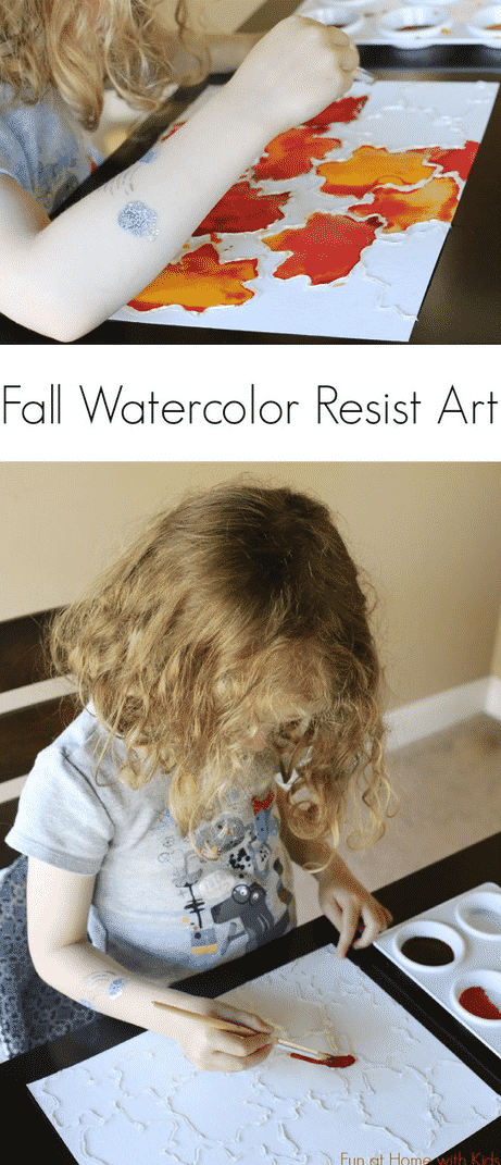 Fall-Inspired Watercolor Resist Art