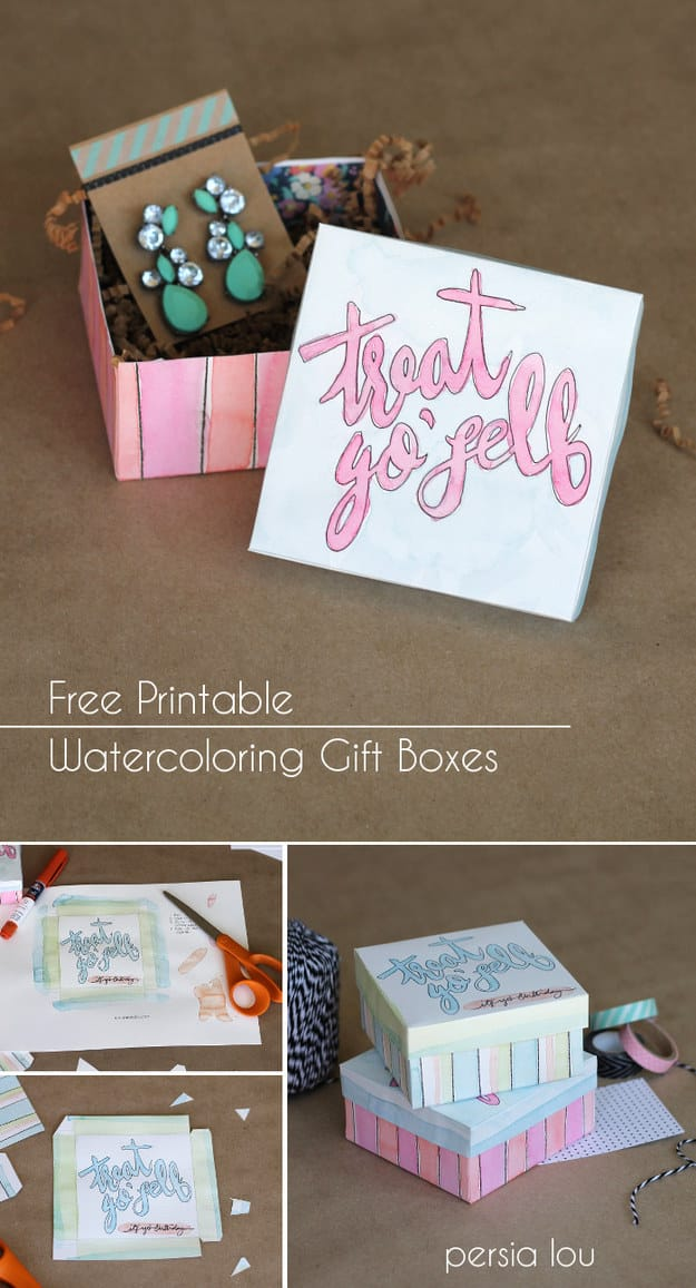 Printable Watercolor Gift Boxes