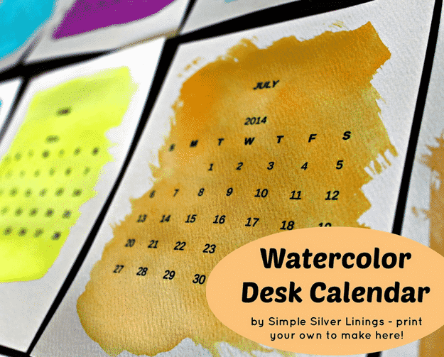 Watercolor Desk Calendar