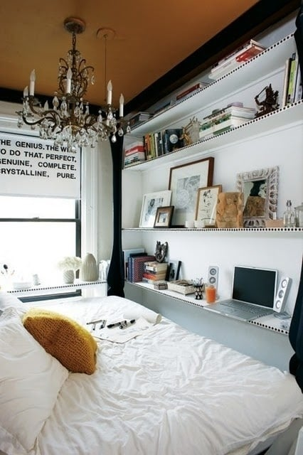 If your workspace only consists of a laptop, just use a bookshelf instead of taking up space with a desk.