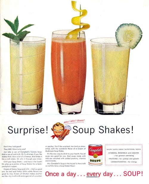 A Campbell's ad that suggests mixing canned tomato soup with milk and cinnamon.