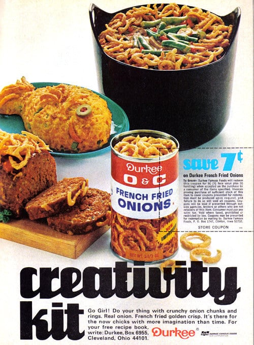 A fried onions ad that seems fine until you see the horrifying onion-fish staring at you.