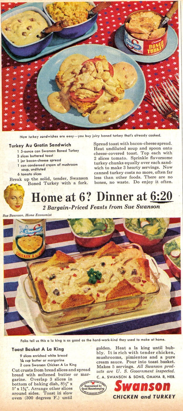 "A deeply gloopy ad for Swanson's canned turkey and ""Chicken a la King."""