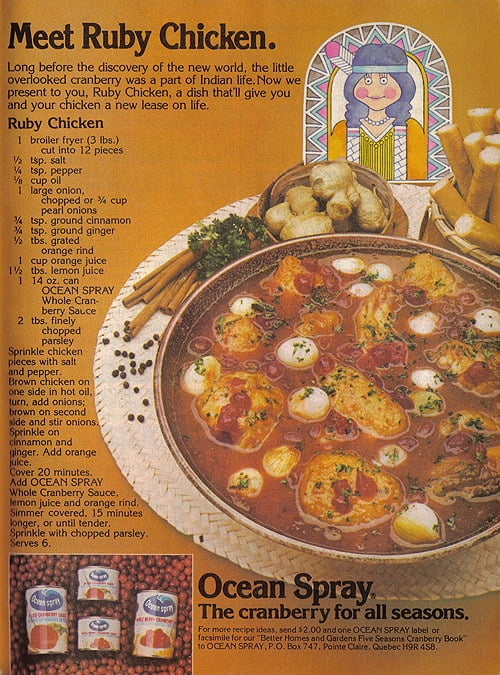 A canned cranberry sauce ad featuring the least appetizing chicken stew you've ever seen.