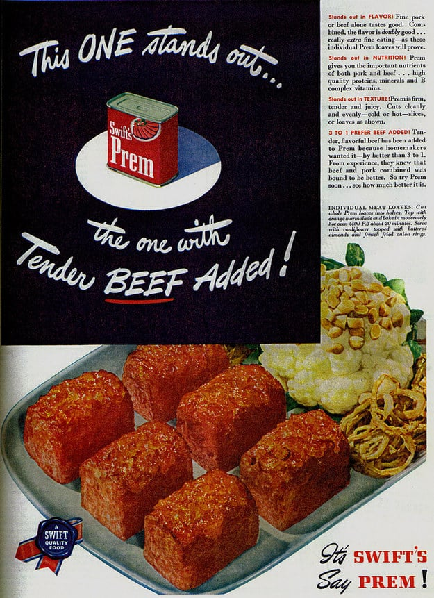 A sinister ad for a mysterious canned meat product called Prem.