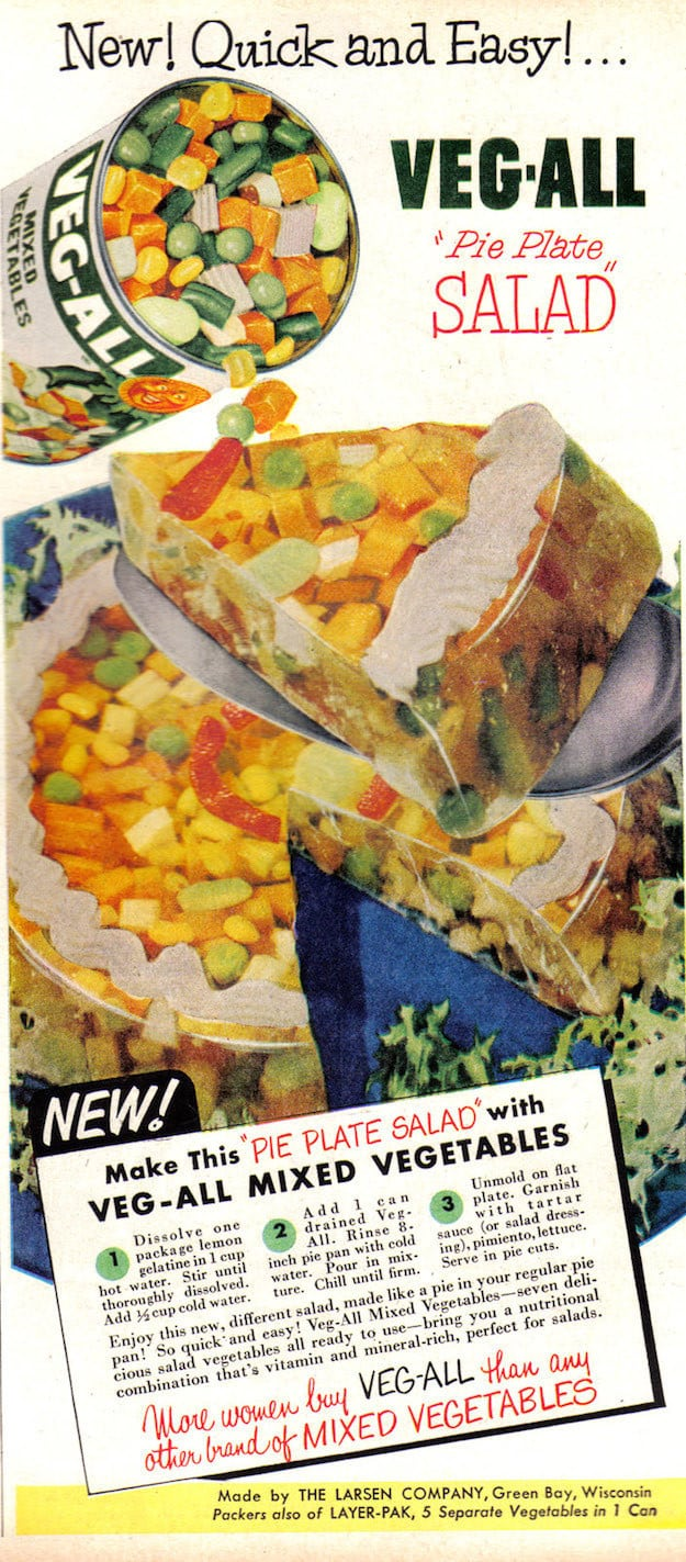 A canned vegetable ad with a recipe for something truly unspeakable.