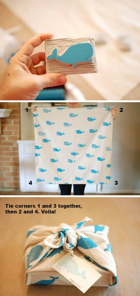 Hand-print fabric for gift wrap that can be used over and over again: