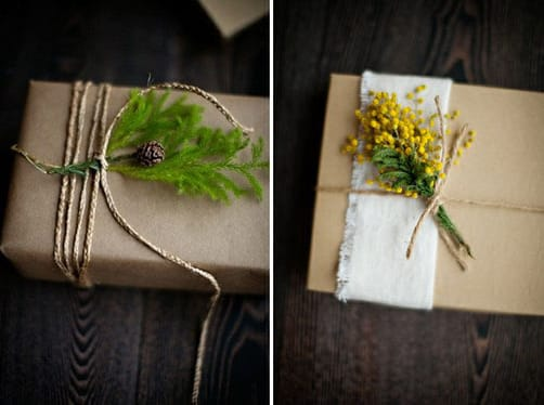 Slip a small plant under some twine to transform plain brown wrapping: