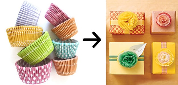 Use cupcake liners to make flower toppers for your gifts: