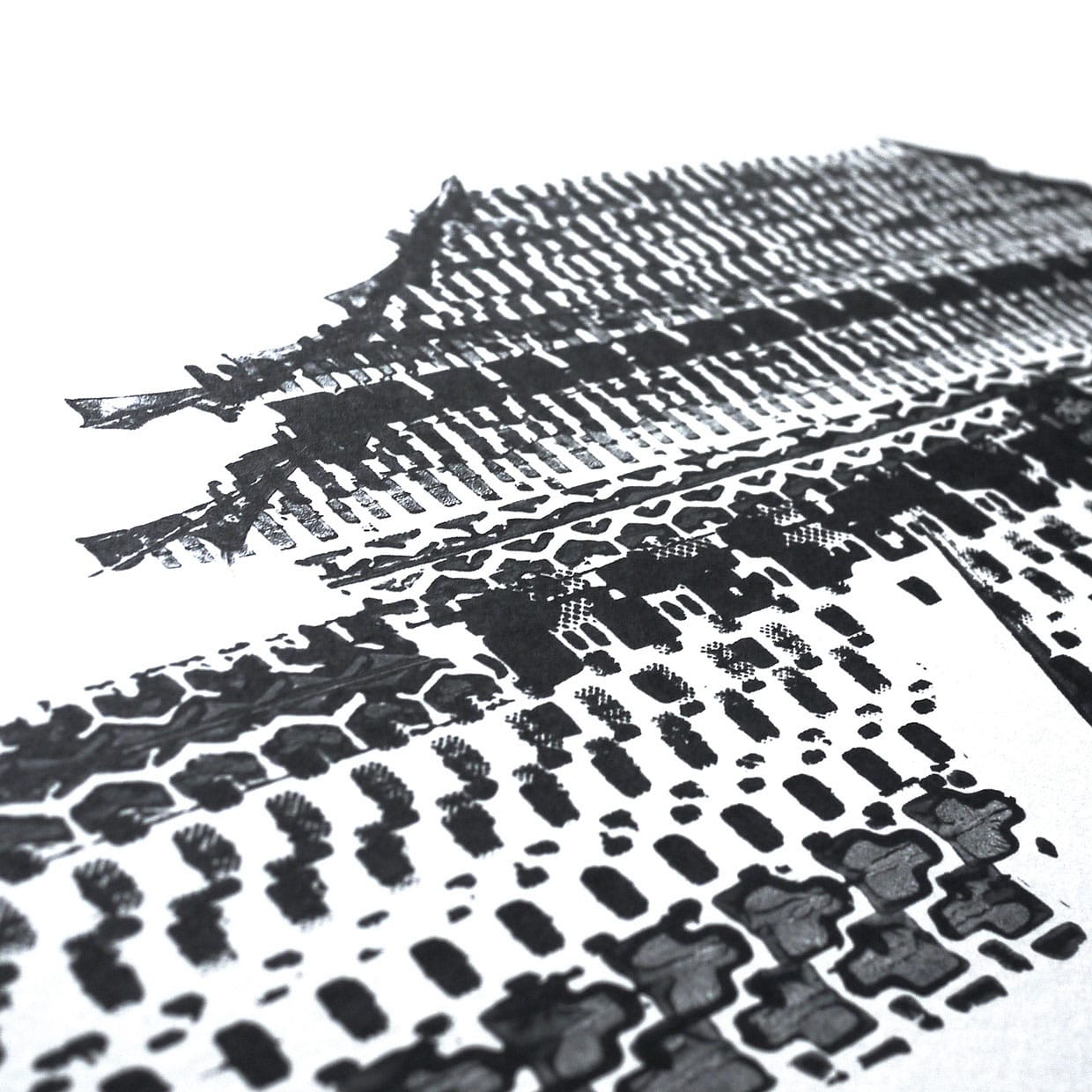 Architectural Landmarks Created with Bicycle Tire Tracks by Thomas Yang tires posters and prints bicycles architecture