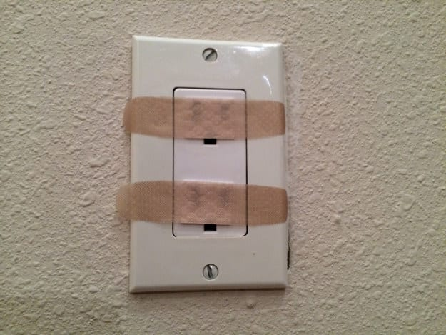 You can also MacGyver your own outlet covers with Band-Aids.
