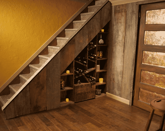 Drowning in wine bottles? Asymmetrical shelves will do the storage trick for you.