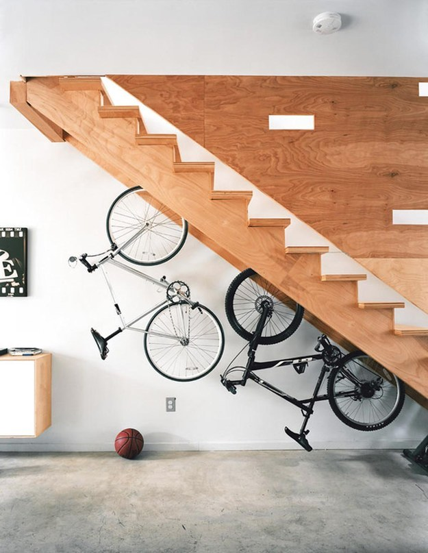 Hang a few bike racks and free up crucial floor space.