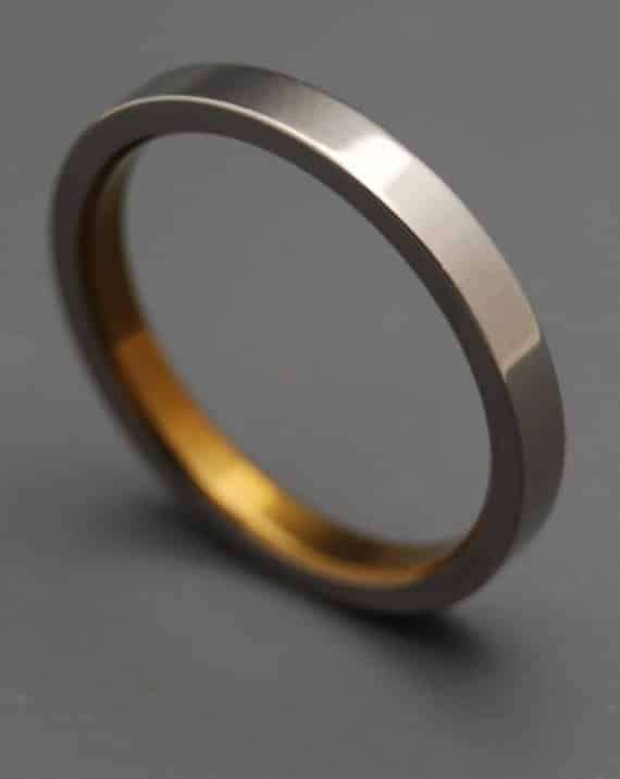 Sleek Titanium and Bronze Inlay Ring, $135