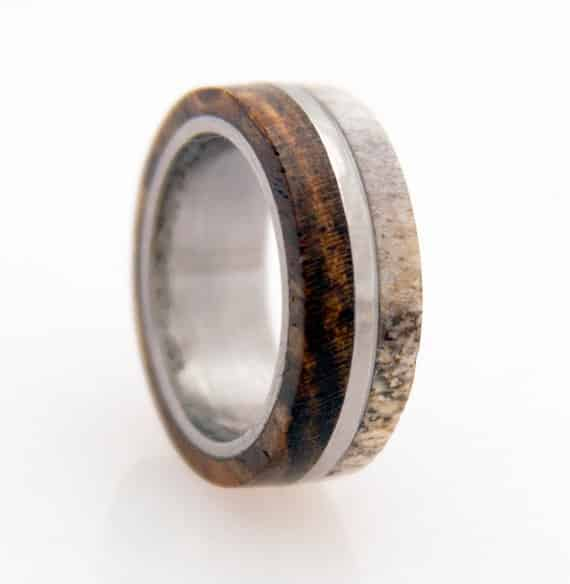 Titanium and Deer Antler Ring, $189
