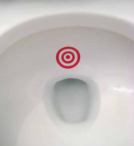 Put a target in the toilet bowl to improve your kid's aim.
