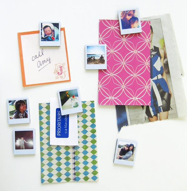 Decorate your fridge with mini polaroid magnets.
