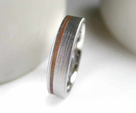 Copper Inlay Wedding Band, $229