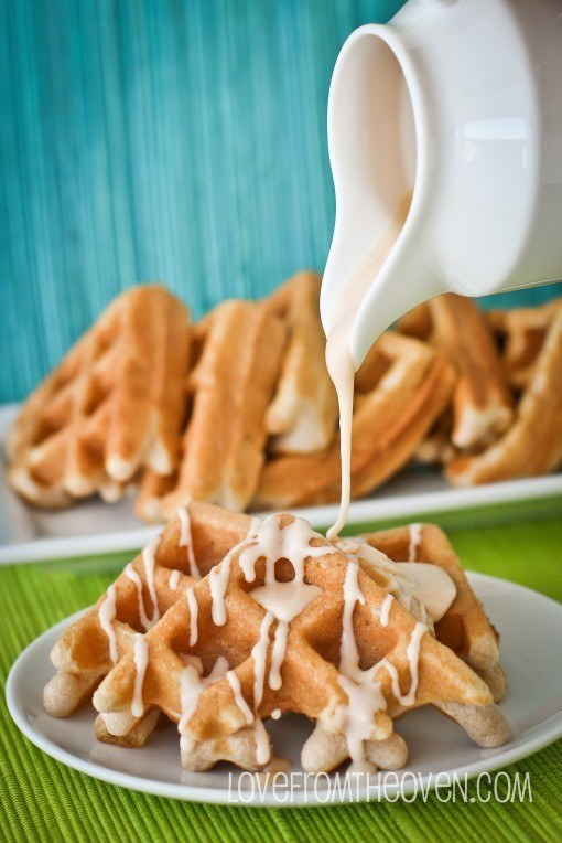 Cake Mix Cinnamon Waffles with Cinnamon Roll Glaze
