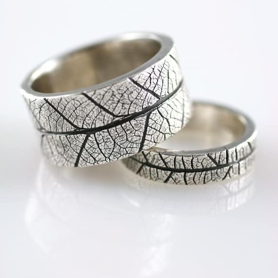 Set of Leaf-Printed Rings, $260