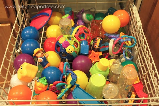Clean toys the easy way by putting them into the dishwasher.