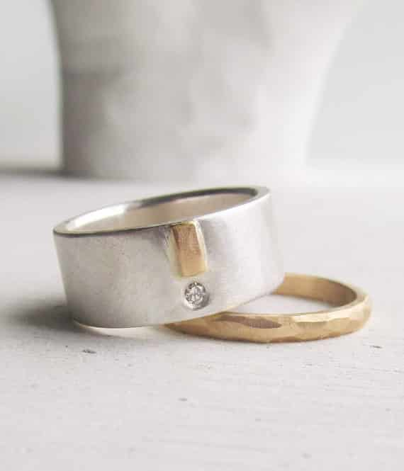 Modern Recycled Silver Ring with 14K Gold, $525