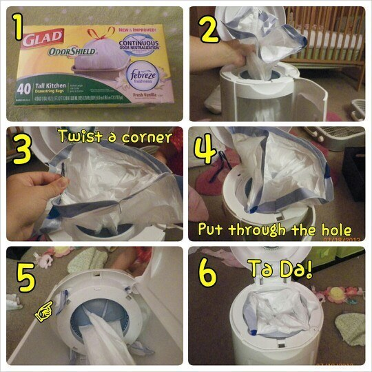 Use trash bags to refill your diaper pail.