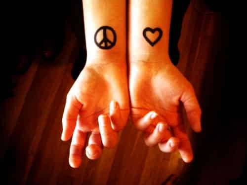 peace love tattoo 43 Inspiring Wrist Tattoos and Graphics