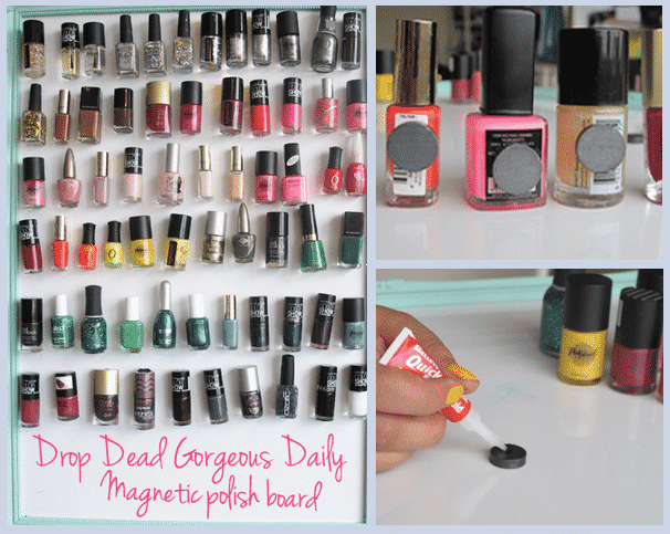 Have a bottle of nail polish for every color in the rainbow? Organize them on a magnetic display board.
