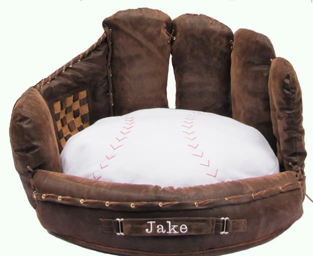 This baseball bed looks so plush and cozy!