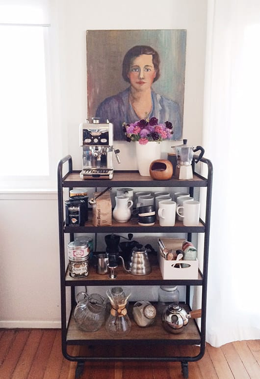 Use it in the kitchen or dining room as a coffee cart.