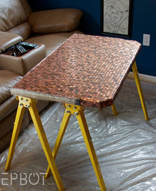 Use actual pennies as penny tiles to cover furniture.