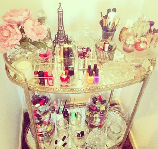 Make one into a glamorous beauty or nail cart.