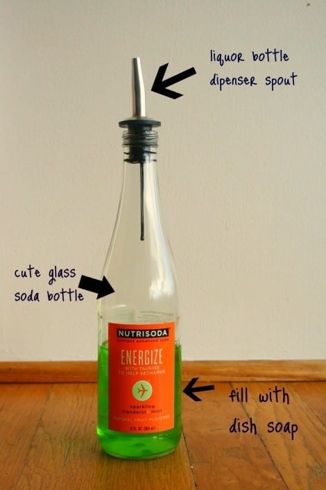 Use a liquor or olive oil dispenser spout for dish or hand soap.