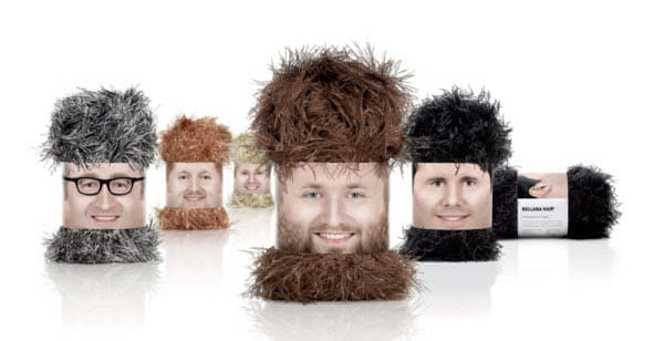 """Whimsical """"Wooly Heads"""" packaged to look like something out of a Tim and Eric skit."""