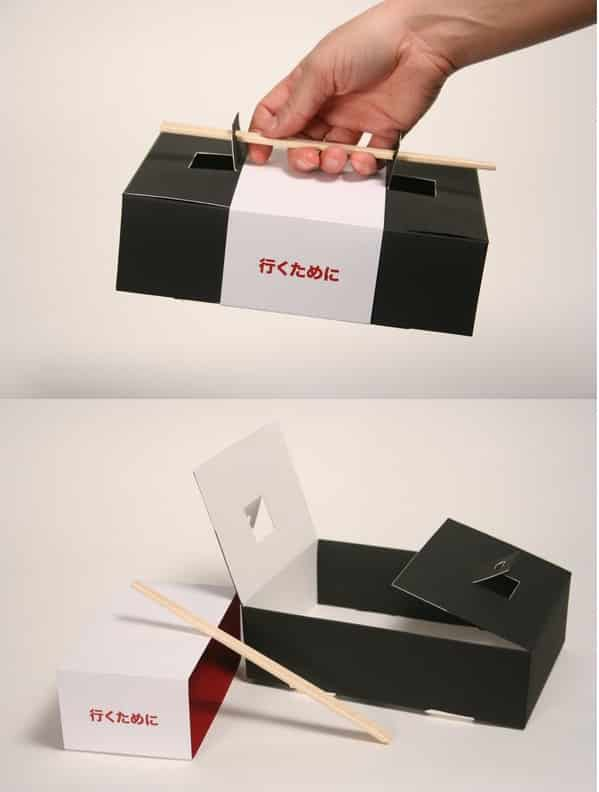 A sushi to-go box that uses chopsticks as the handle.