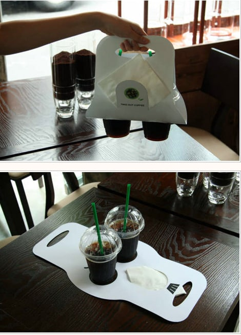 Beverage holders that are so much better than those Styrofoam things they give you at Starbucks.