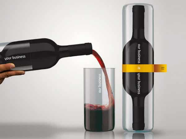 Wine bottle packaging that creates two drinking glasses.
