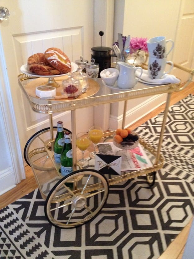 Wheel one into the bedroom for serving brunch.